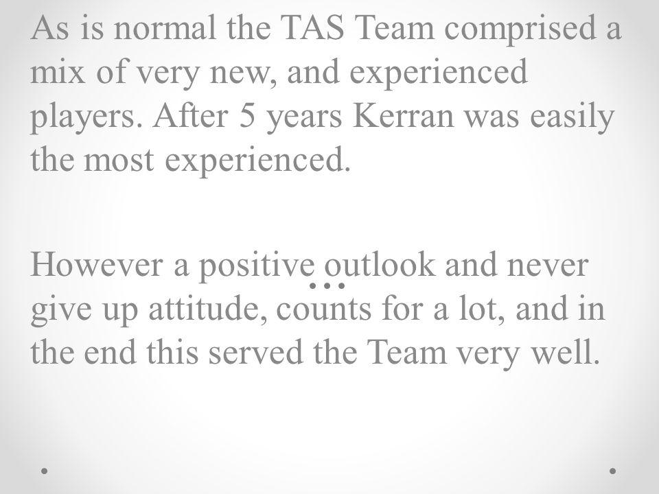 The TAS Team comprised (* denotes a first year player): Kerran Clark (Captain) Andrea Conlon* Kelsey Eames Josh Fellingham Emma McCaughan* Melissa Mete James Morrison Bailey Nathan