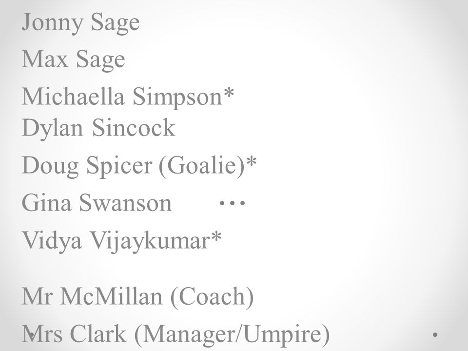 Jonny Sage Max Sage Michaella Simpson* Dylan Sincock Doug Spicer (Goalie)* Gina Swanson Vidya Vijaykumar* Mr McMillan (Coach) Mrs Clark (Manager/Umpire)
