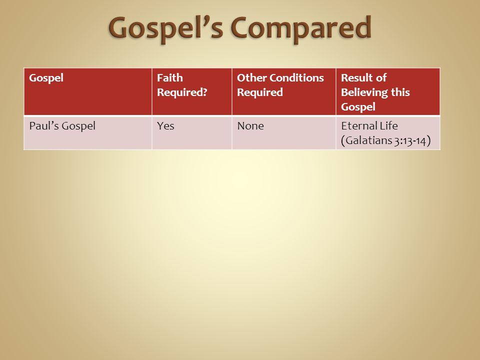 GospelFaith Required? Other Conditions Required Result of Believing this Gospel Paul's GospelYesNoneEternal Life (Galatians 3:13-14)
