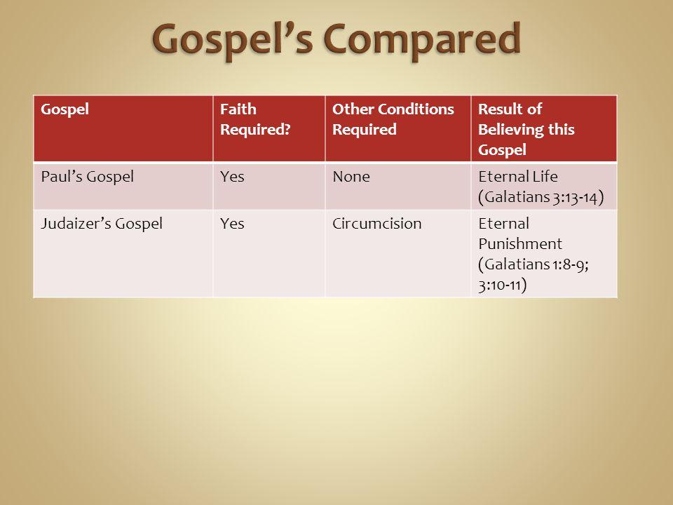 GospelFaith Required? Other Conditions Required Result of Believing this Gospel Paul's GospelYesNoneEternal Life (Galatians 3:13-14) Judaizer's Gospel