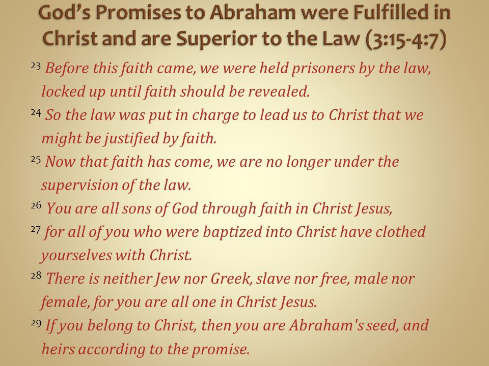 23 Before this faith came, we were held prisoners by the law, locked up until faith should be revealed.
