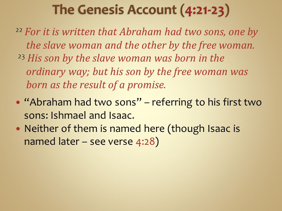 22 For it is written that Abraham had two sons, one by the slave woman and the other by the free woman.