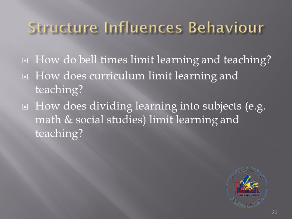  How do bell times limit learning and teaching?  How does curriculum limit learning and teaching?  How does dividing learning into subjects (e.g. m