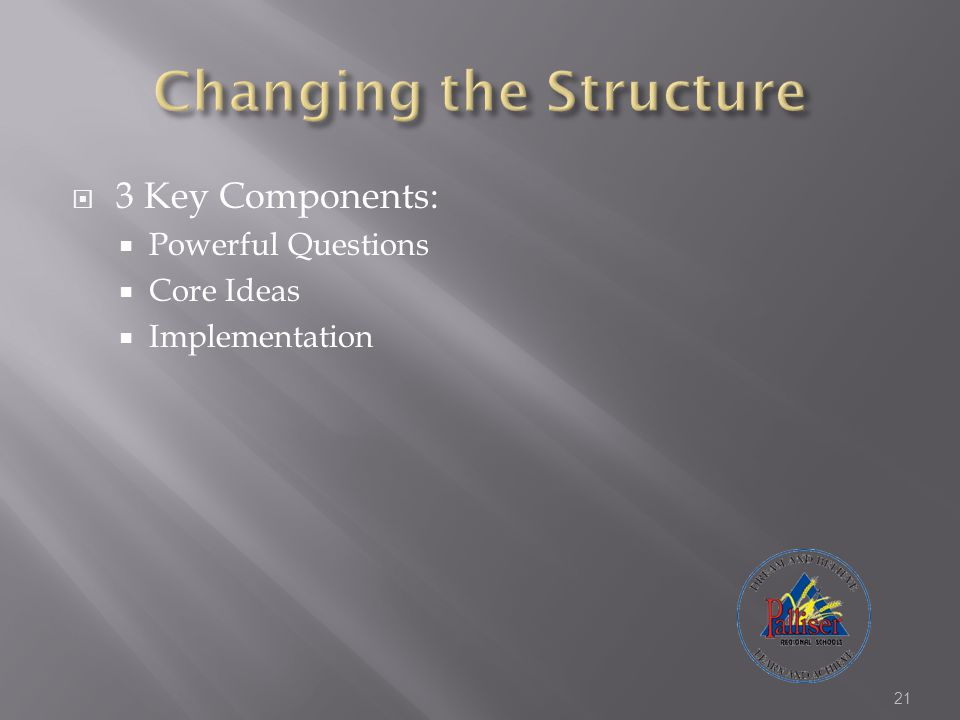  3 Key Components:  Powerful Questions  Core Ideas  Implementation 21