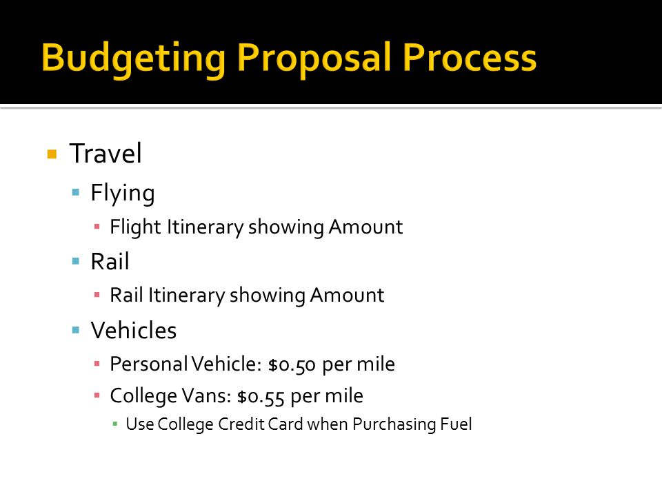  Travel  Flying ▪ Flight Itinerary showing Amount  Rail ▪ Rail Itinerary showing Amount  Vehicles ▪ Personal Vehicle: $0.50 per mile ▪ College Vans: $0.55 per mile ▪ Use College Credit Card when Purchasing Fuel