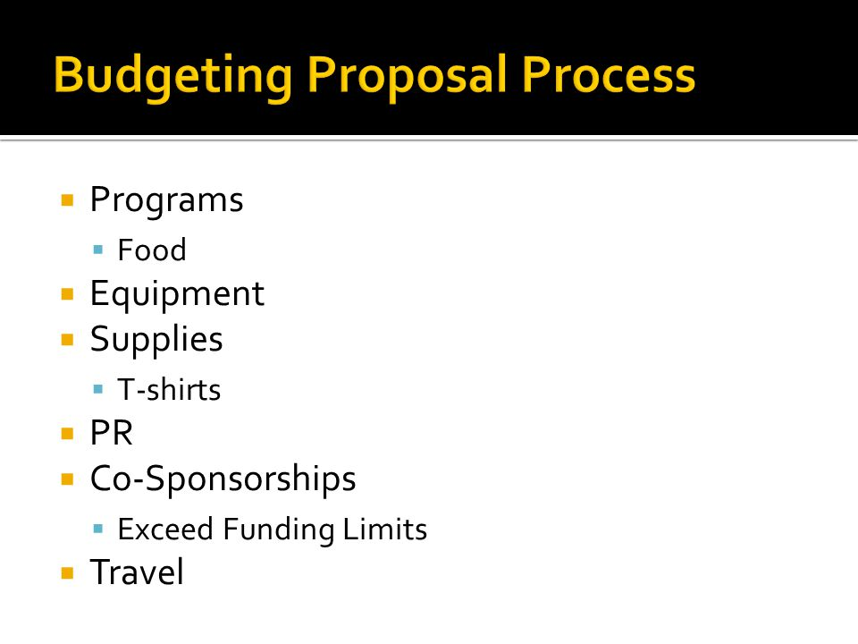  Programs  Food  Equipment  Supplies  T-shirts  PR  Co-Sponsorships  Exceed Funding Limits  Travel