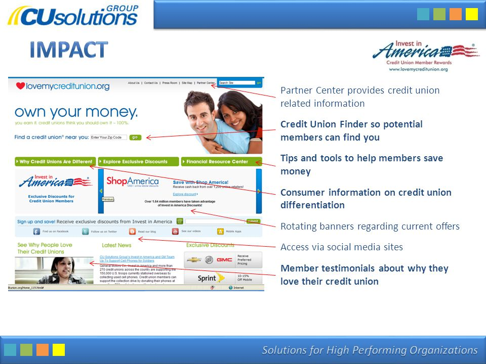 Partner Center provides credit union related information Credit Union Finder so potential members can find you Tips and tools to help members save money Consumer information on credit union differentiation Rotating banners regarding current offers Access via social media sites Member testimonials about why they love their credit union