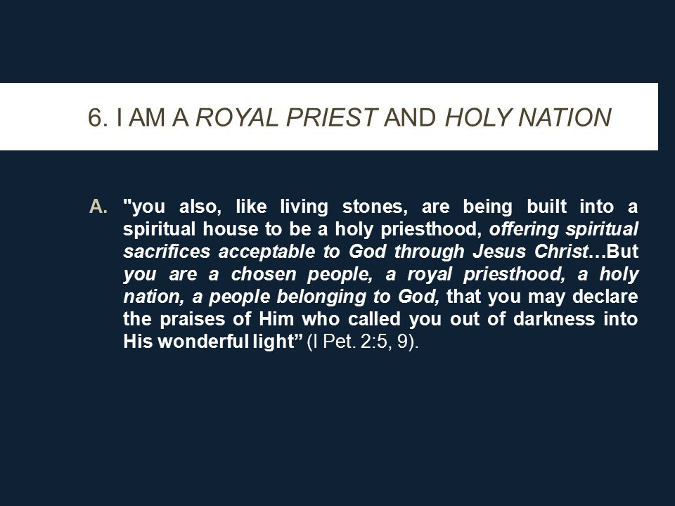 6. I AM A ROYAL PRIEST AND HOLY NATION A.