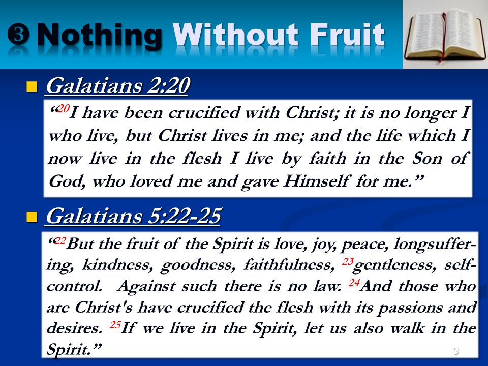 """"""" 22 But the fruit of the Spirit is love, joy, peace, longsuffer- ing, kindness, goodness, faithfulness, 23 gentleness, self- control. Against such th"""