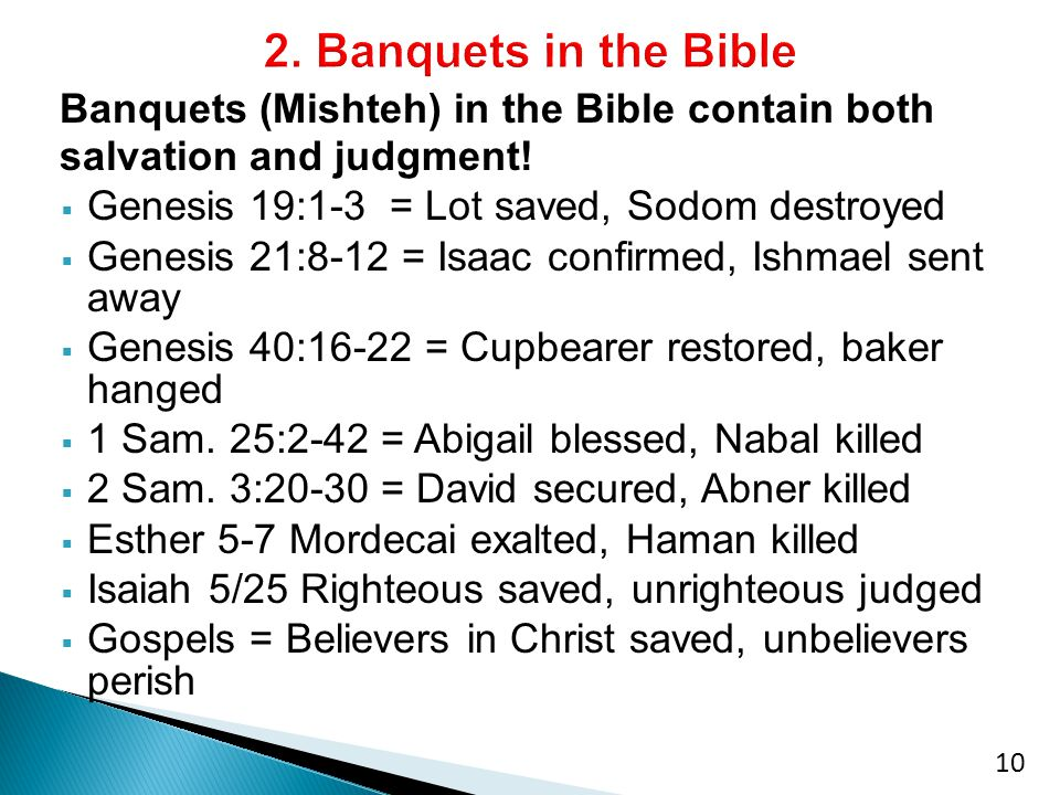 Banquets (Mishteh) in the Bible contain both salvation and judgment.