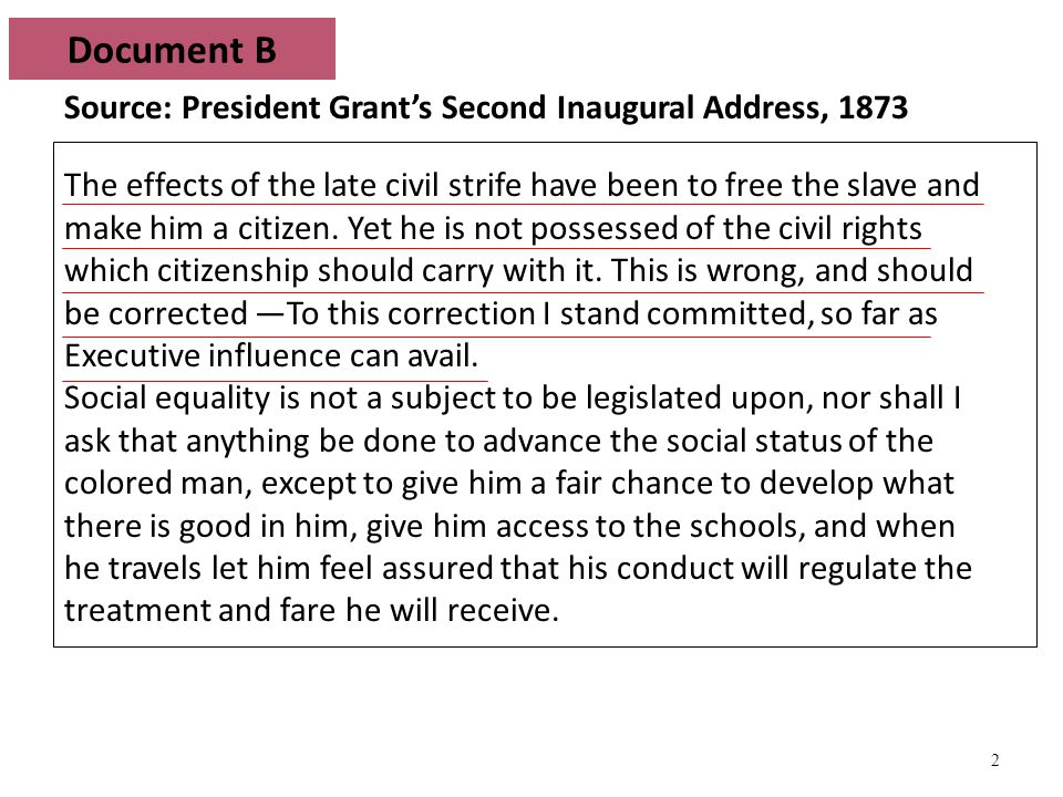 3 Source: Civil Rights Act of 1875 …all persons within the jurisdiction of the United States shall be entitled to the full and equal enjoyment of the accommodations, advantages, facilities, and privileges of inns, public conveyances on land or water, theaters, and other places of public amusement; subject only to the conditions and limitations established by law, and applicable alike to citizens of every race and color, regardless of any previous condition of servitude.