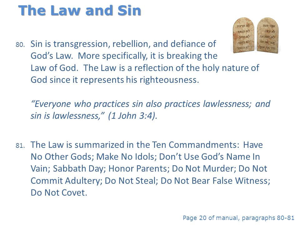 80. Sin is transgression, rebellion, and defiance of God's Law. More specifically, it is breaking the Law of God. The Law is a reflection of the holy