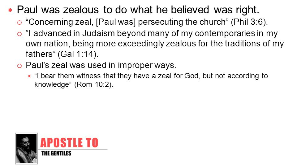 God expects us to be a zealous people.