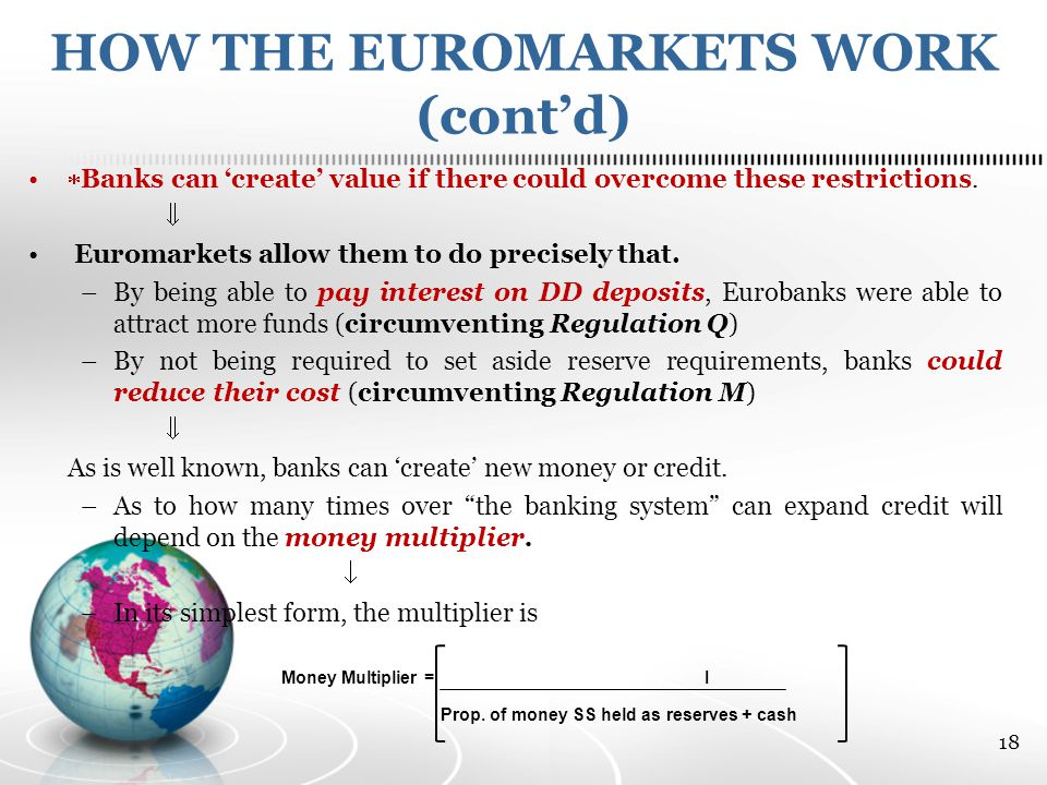 HOW THE EUROMARKETS WORK (cont'd)  Banks can 'create' value if there could overcome these restrictions.
