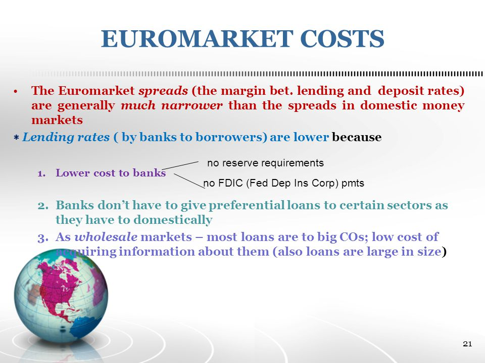 EUROMARKET COSTS The Euromarket spreads (the margin bet.