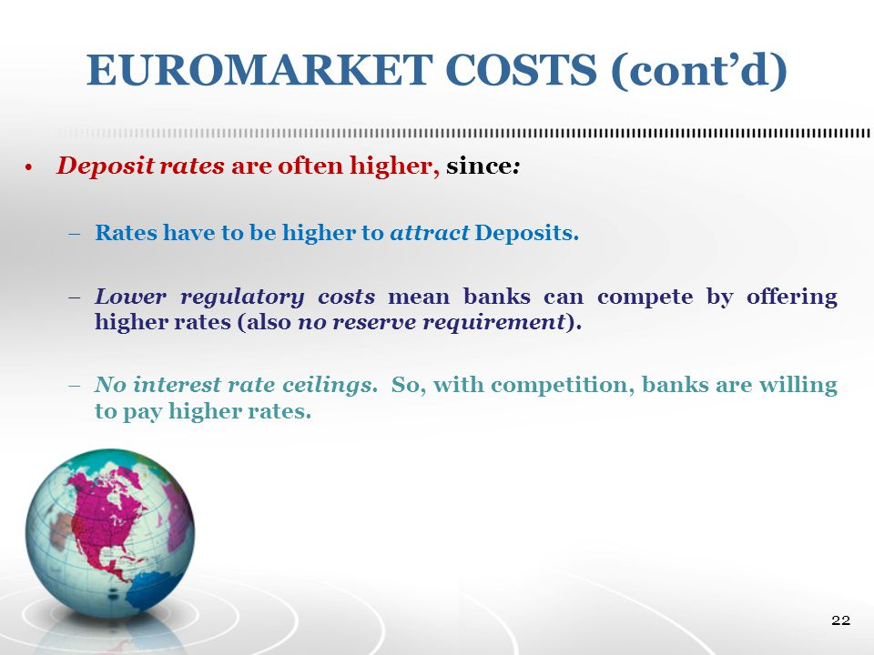 EUROMARKET COSTS (cont'd) Deposit rates are often higher, since: –Rates have to be higher to attract Deposits.