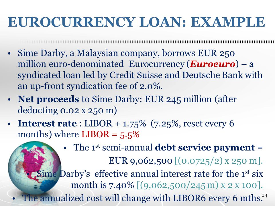 EUROCURRENCY LOAN: EXAMPLE Sime Darby, a Malaysian company, borrows EUR 250 million euro-denominated Eurocurrency (Euroeuro) – a syndicated loan led by Credit Suisse and Deutsche Bank with an up-front syndication fee of 2.0%.