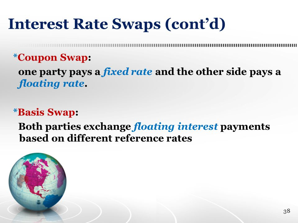 Interest Rate Swaps (cont'd) *Coupon Swap: one party pays a fixed rate and the other side pays a floating rate.