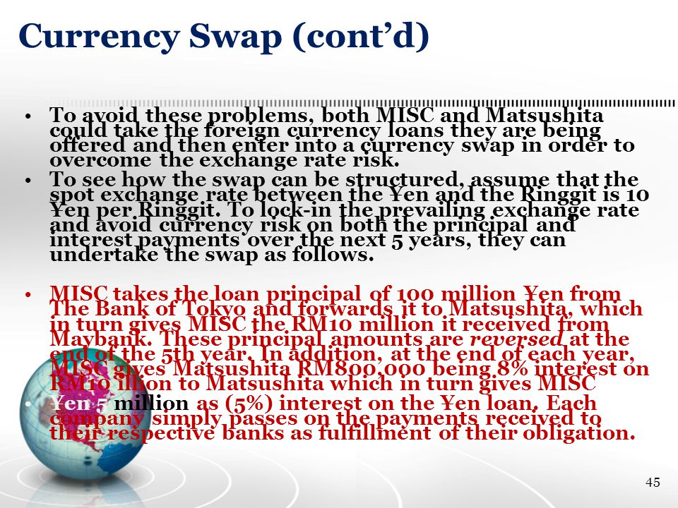 Currency Swap (cont'd) To avoid these problems, both MISC and Matsushita could take the foreign currency loans they are being offered and then enter into a currency swap in order to overcome the exchange rate risk.