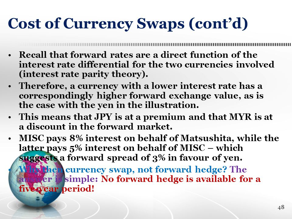 Cost of Currency Swaps (cont'd) Recall that forward rates are a direct function of the interest rate differential for the two currencies involved (interest rate parity theory).