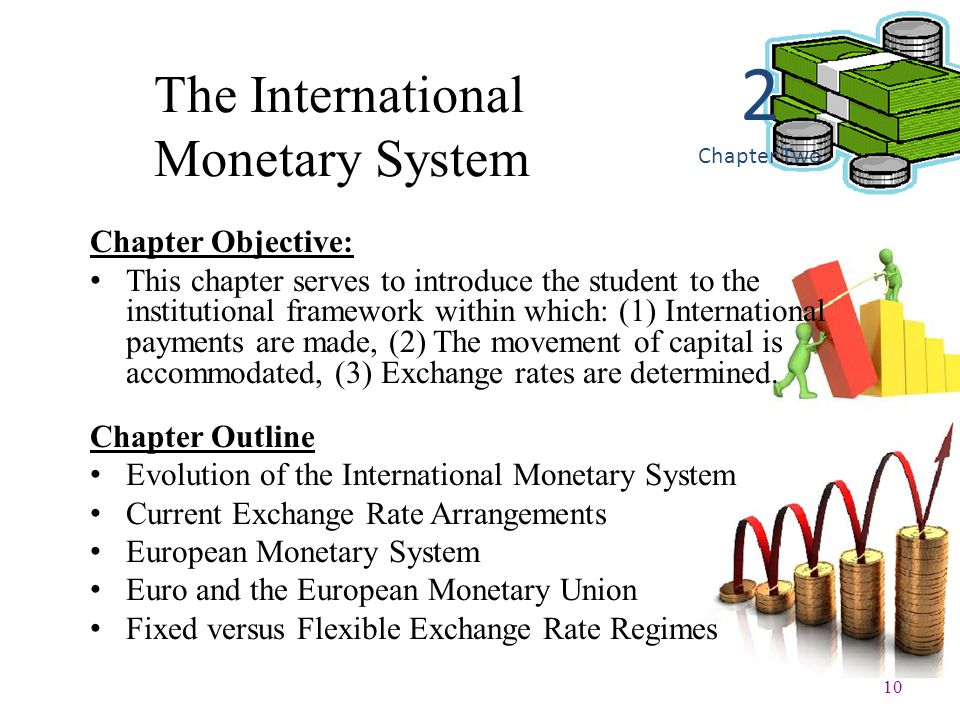 10 The International Monetary System Chapter Objective: This chapter serves to introduce the student to the institutional framework within which: (1)