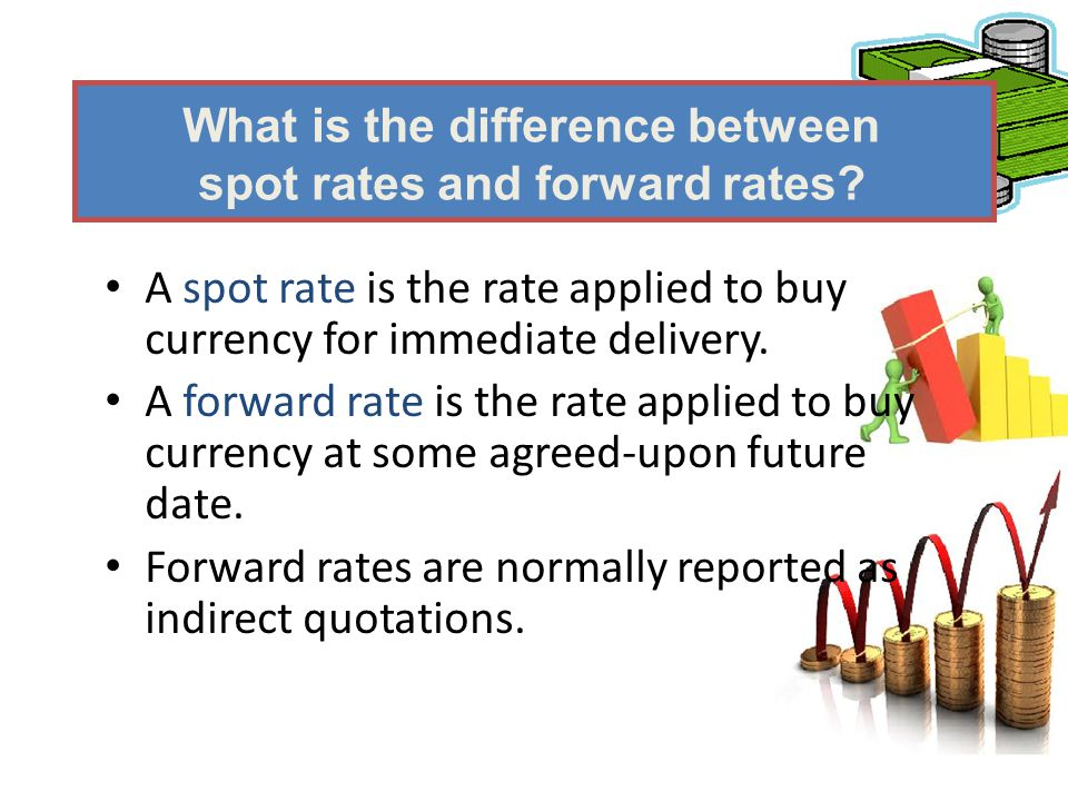 A spot rate is the rate applied to buy currency for immediate delivery. A forward rate is the rate applied to buy currency at some agreed-upon future