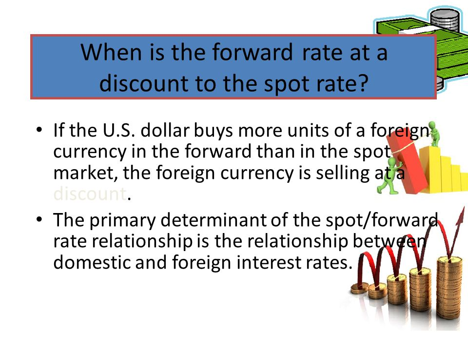 When is the forward rate at a discount to the spot rate? If the U.S. dollar buys more units of a foreign currency in the forward than in the spot mark