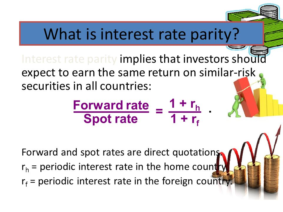 What is interest rate parity? Interest rate parity implies that investors should expect to earn the same return on similar-risk securities in all coun