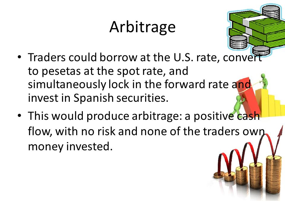 Arbitrage Traders could borrow at the U.S. rate, convert to pesetas at the spot rate, and simultaneously lock in the forward rate and invest in Spanis