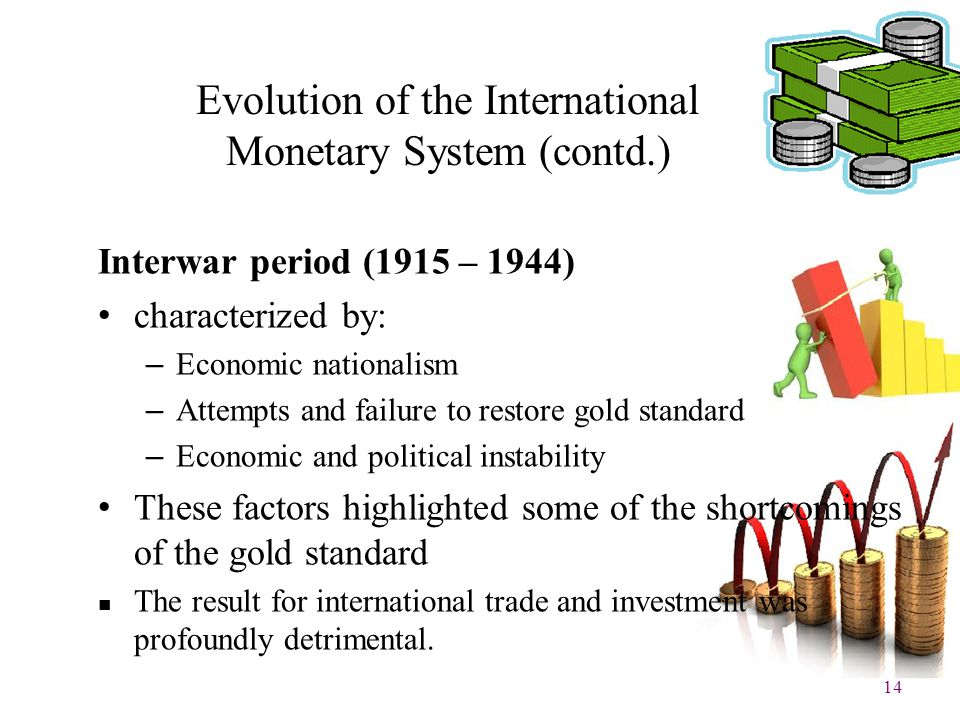 14 Evolution of the International Monetary System (contd.) Interwar period (1915 – 1944) characterized by: – Economic nationalism – Attempts and failu