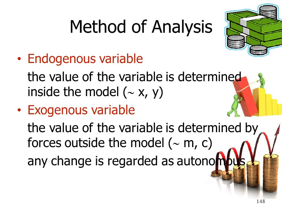 148 Method of Analysis Endogenous variable the value of the variable is determined inside the model (  x, y) Exogenous variable the value of the vari