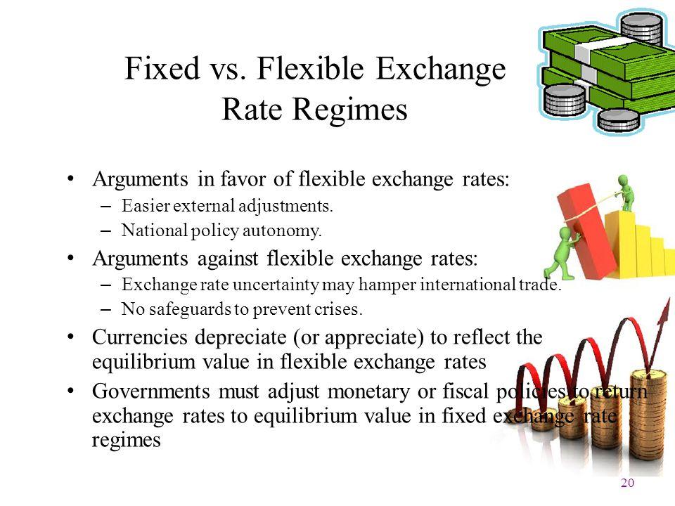 20 Fixed vs. Flexible Exchange Rate Regimes Arguments in favor of flexible exchange rates: – Easier external adjustments. – National policy autonomy.