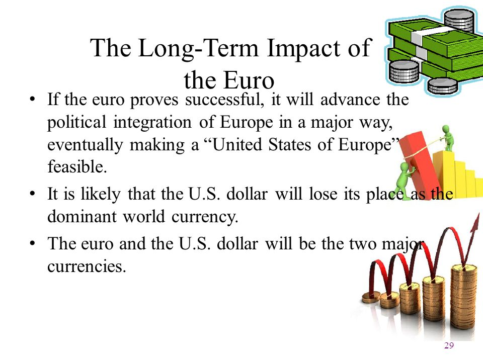 29 The Long-Term Impact of the Euro If the euro proves successful, it will advance the political integration of Europe in a major way, eventually maki