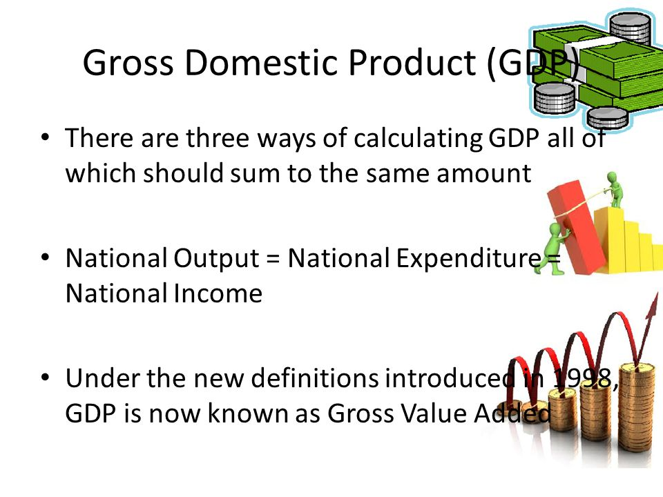 Gross Domestic Product (GDP) There are three ways of calculating GDP all of which should sum to the same amount National Output = National Expenditure