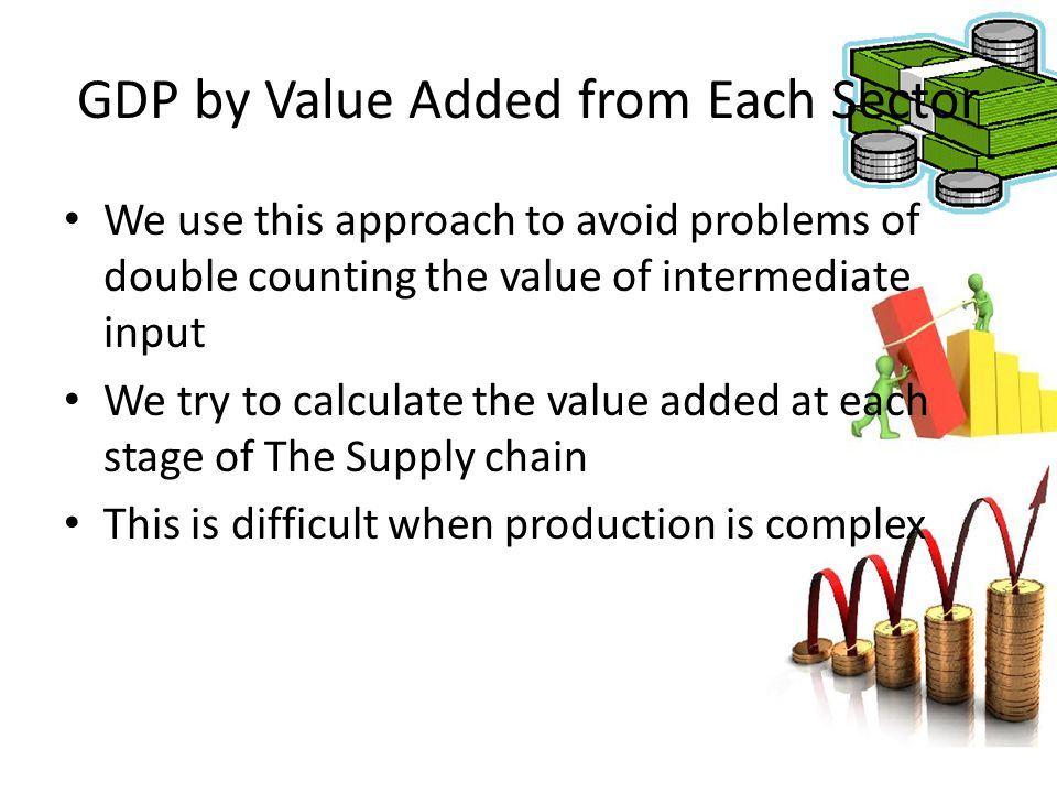 GDP by Value Added from Each Sector We use this approach to avoid problems of double counting the value of intermediate input We try to calculate the