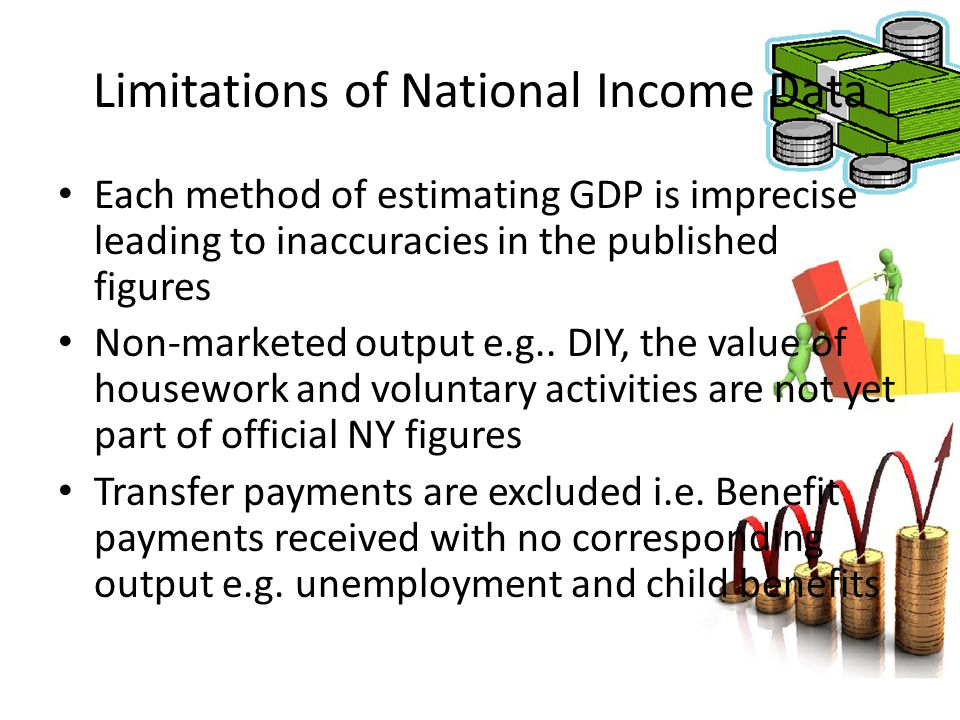 Limitations of National Income Data Each method of estimating GDP is imprecise leading to inaccuracies in the published figures Non-marketed output e.