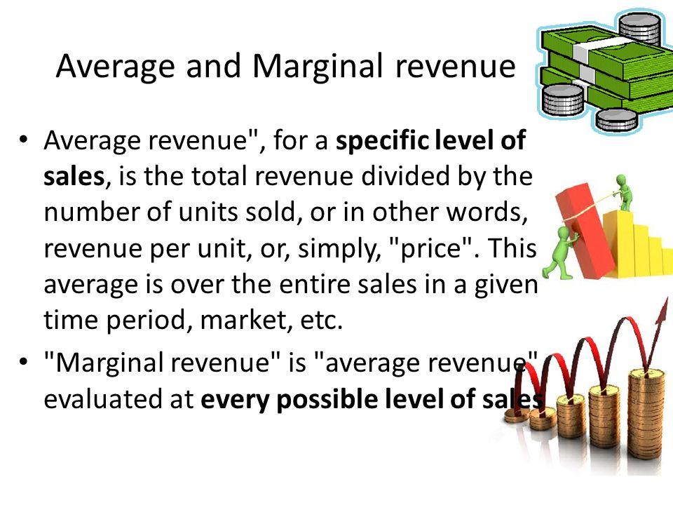 Average and Marginal revenue Average revenue
