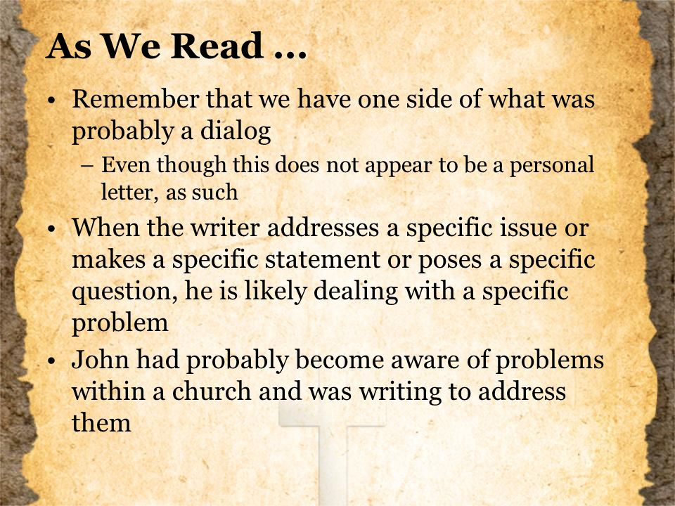 As We Read...