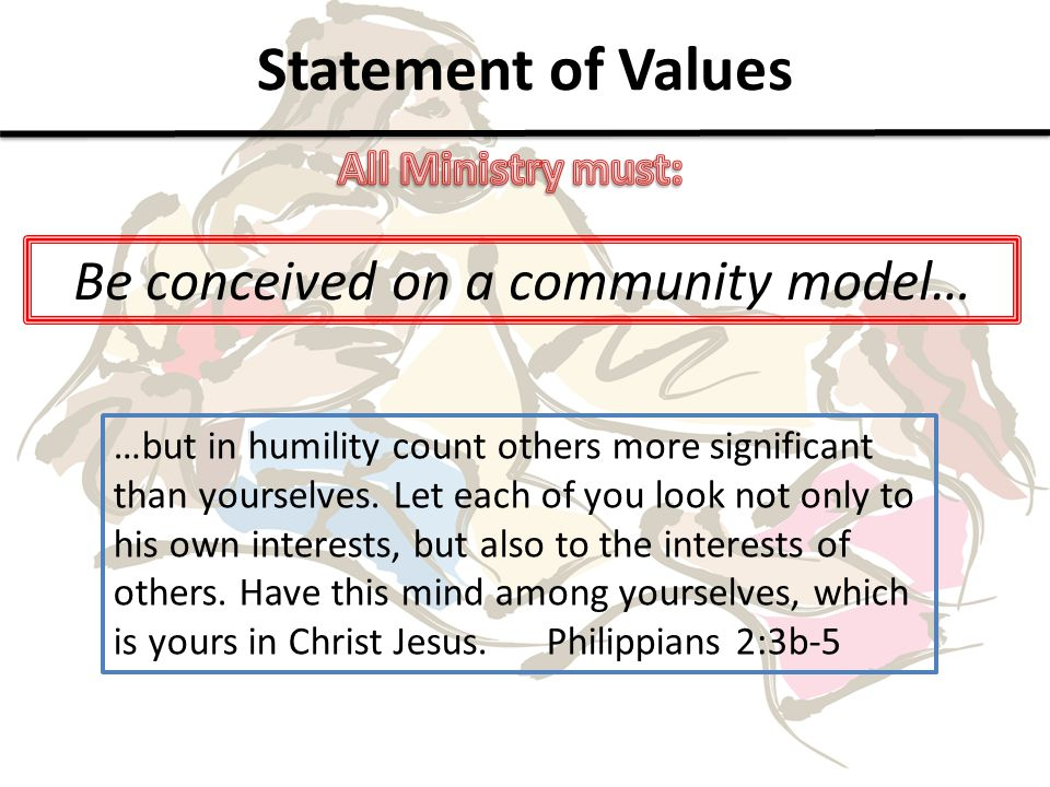 Statement of Values Be conceived on a community model… …but in humility count others more significant than yourselves.