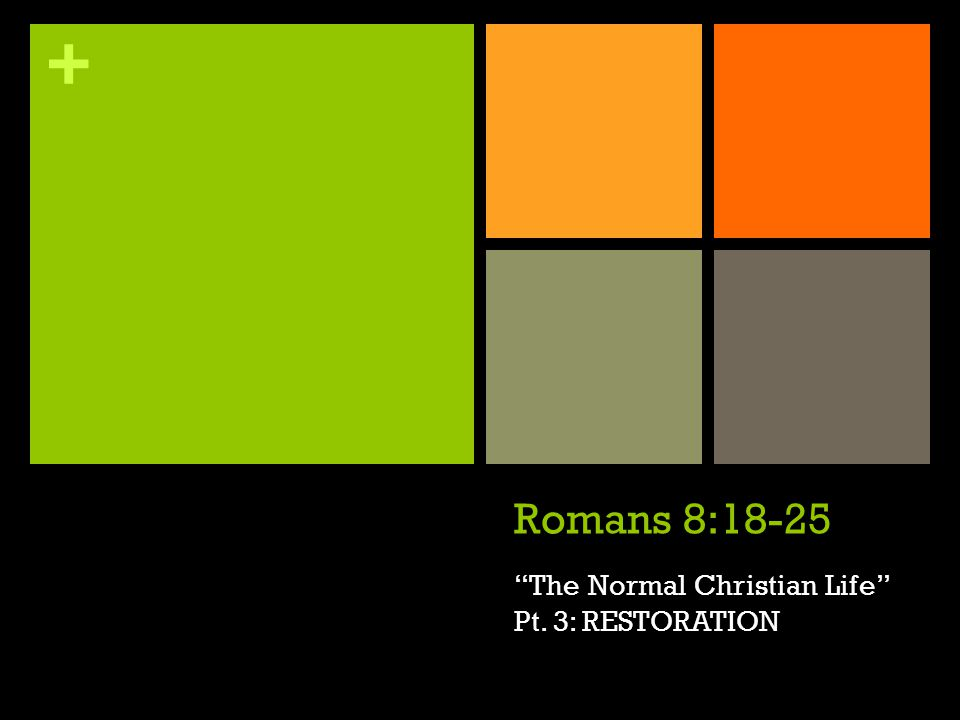+ Romans 8:18-25 The Normal Christian Life Pt. 3: RESTORATION