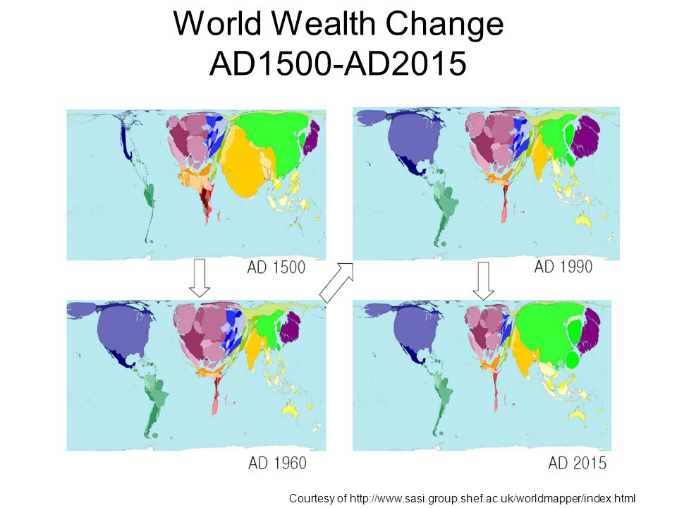 World Wealth Change AD1500-AD2015 Courtesy of http://www.sasi.group.shef.ac.uk/worldmapper/index.html