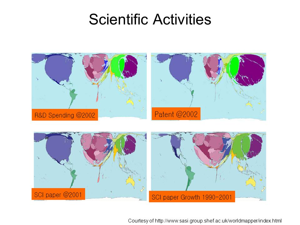 Scientific Activities Courtesy of http://www.sasi.group.shef.ac.uk/worldmapper/index.html