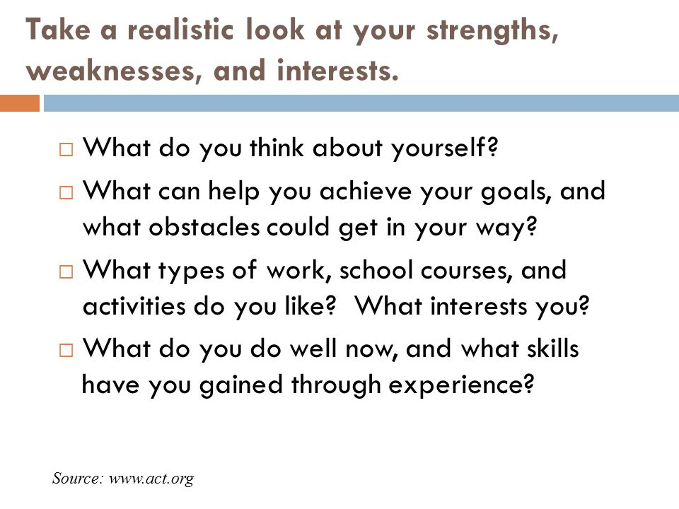 Take a realistic look at your strengths, weaknesses, and interests.