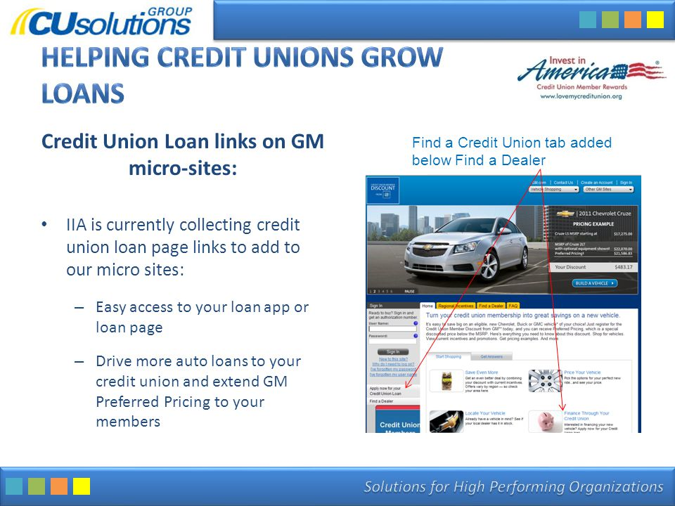 Credit Union Loan links on GM micro-sites: IIA is currently collecting credit union loan page links to add to our micro sites: – Easy access to your l