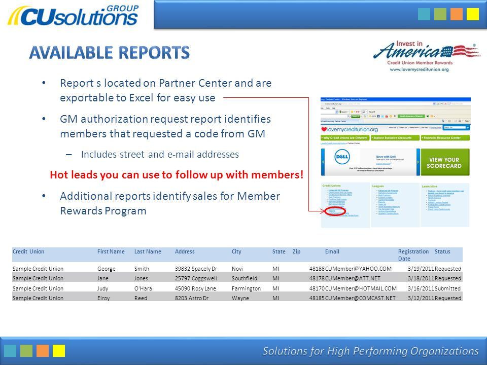 Report s located on Partner Center and are exportable to Excel for easy use GM authorization request report identifies members that requested a code from GM – Includes street and e-mail addresses Hot leads you can use to follow up with members.