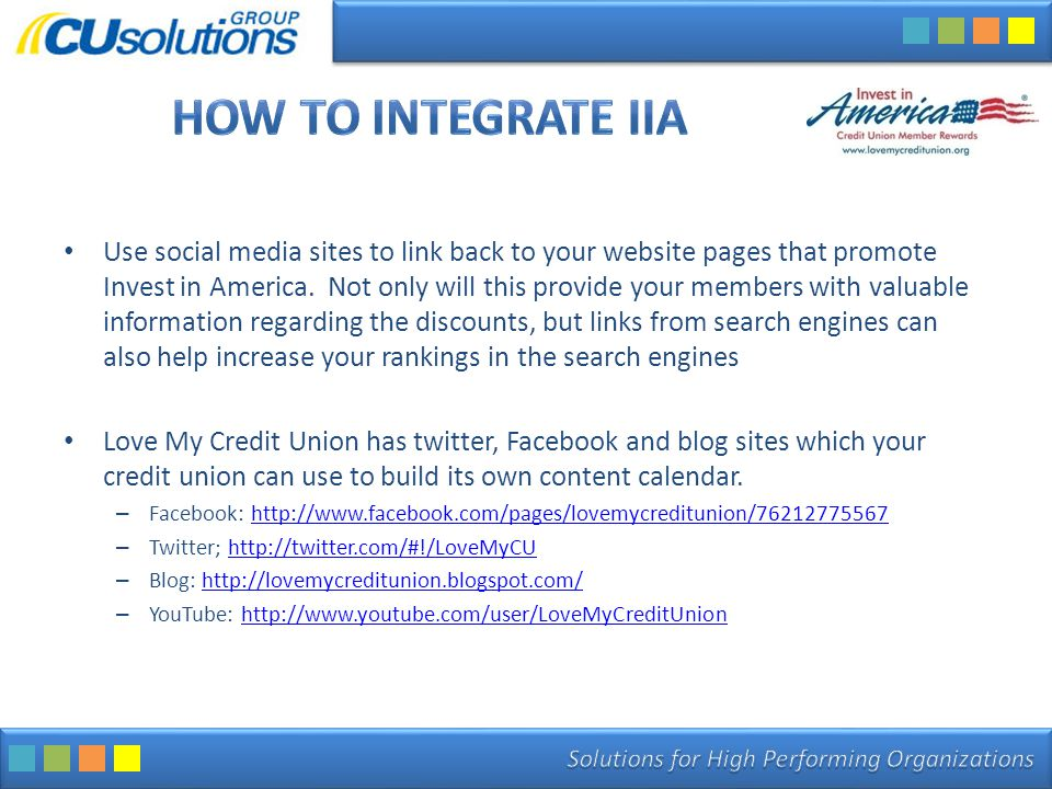 Use social media sites to link back to your website pages that promote Invest in America.