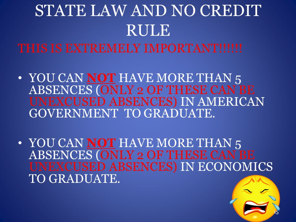 STATE LAW AND NO CREDIT RULE THIS IS EXTREMELY IMPORTANT!!!!!.