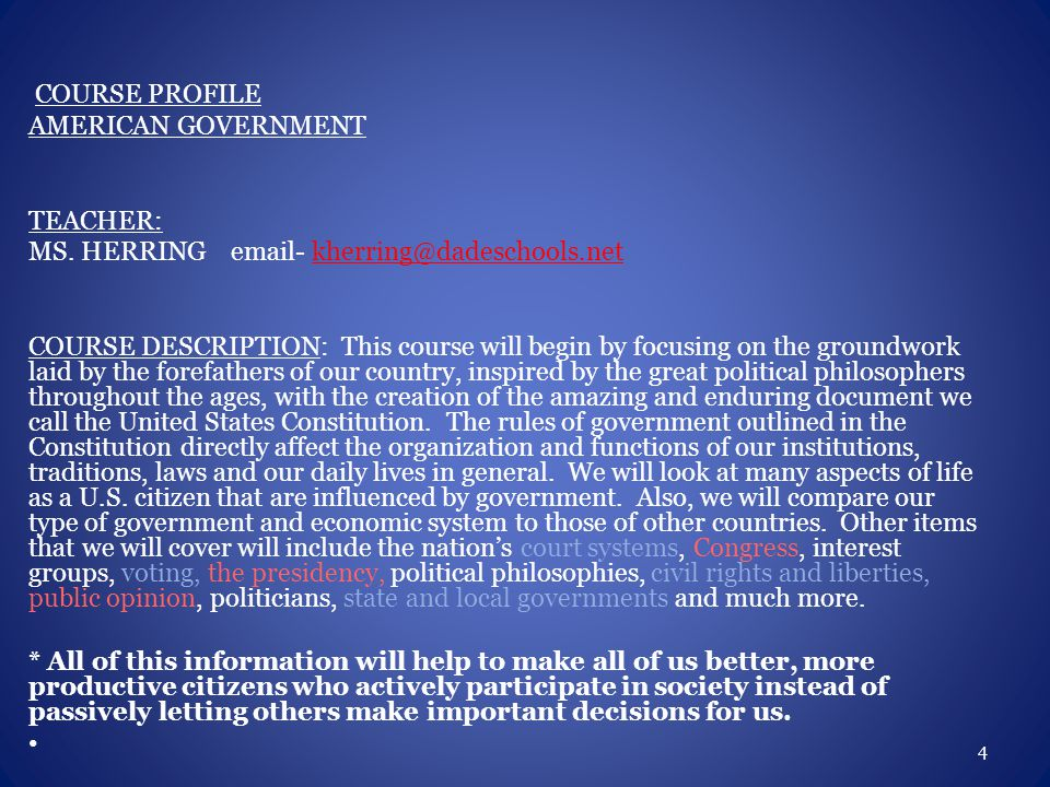 COURSE PROFILE AMERICAN GOVERNMENT TEACHER: MS.