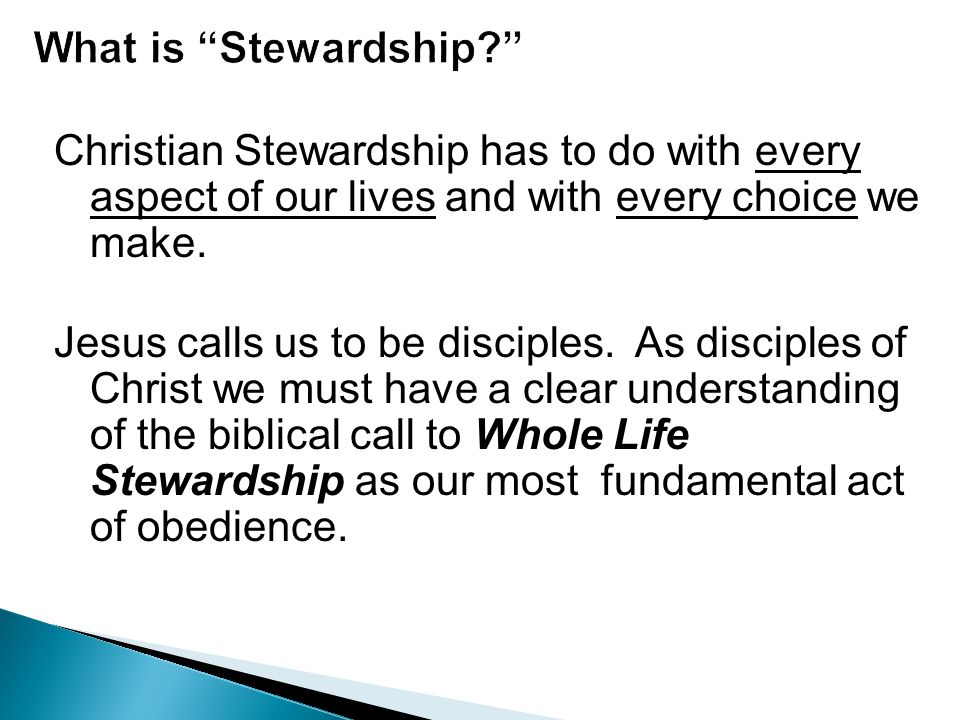 Christian Stewardship has to do with every aspect of our lives and with every choice we make. Jesus calls us to be disciples. As disciples of Christ w