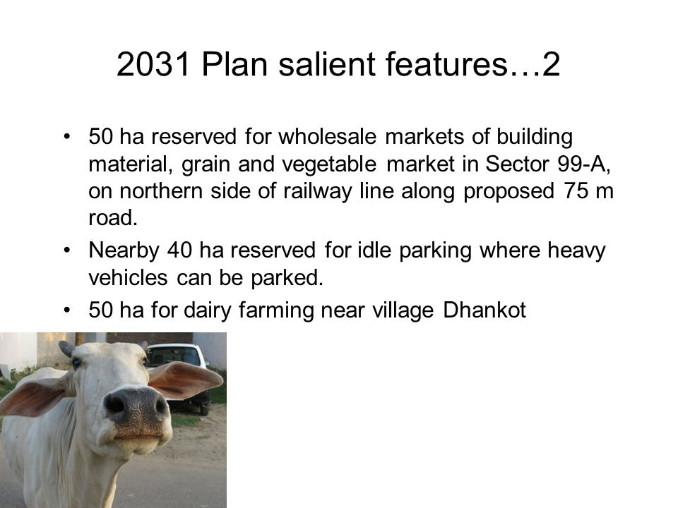 2031 Plan salient features…2 50 ha reserved for wholesale markets of building material, grain and vegetable market in Sector 99-A, on northern side of railway line along proposed 75 m road.